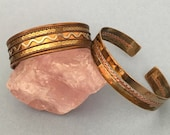 Mixed Metal Cuff Bracelets, Set of 2, Copper, Brass, Inlay metal work, Braiding, Collection, Stacking, Boho Jewelry