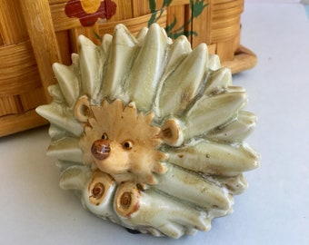 Ceramic Hedgehog Figurine Vintage Animal Sculpture, Artisan Hand Crafted