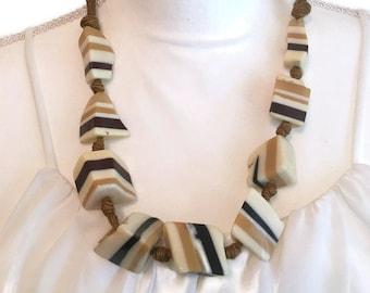 Vintage Layered Chunks of Lucite Caramel Beige Black Artisan Beaded Necklace