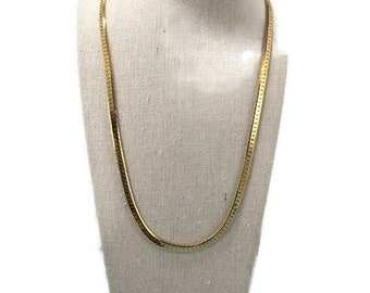 """Napier Gold Tone Snake Chain Necklace 24"""" Vintage 1980s Serpentine Chain Classic 80s Jewelry Gold Plated"""