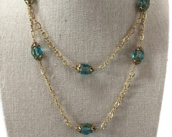 Vintage Frosted Faceted Austrian Crystal Gold and Blue Glass Ball Beaded Necklace with Gold Tone Findings