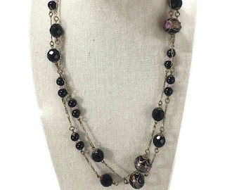 Sadie Green's Jet Black Crystal Glass Beads and Wedding Cake Bead Long Necklace Victorian Revival
