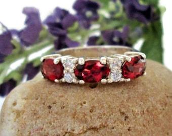 Vintage Garnet & CZ Ring, Sterling Silver, Size 5, Signed JC,  ,Elegant Prong Set Band Ring, Stacking Gemstone Ring