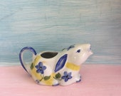 Vintage Bunny Rabbit  Pitcher, Creamer, Blue and White,, Cottage Country Kitchen