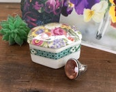 Small Trinket Box, Bone China, Crownford Giftware, Made in Scotland, Hexagon, Floral Garden Design, English Garden, Vanity Box,