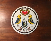 Pennsylvanian Hex Sign By Jacob Zook Double Distelfink The Moyer Family Folk Art Pennsylvania Double Good Luck and Happiness Yellow Red