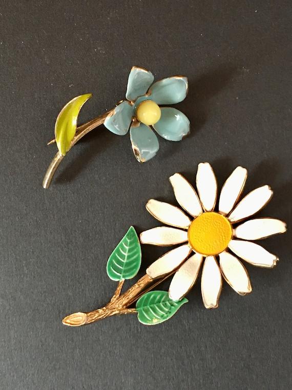 Vintage Enamel Flower Brooches, Set of 2, Blue Ena