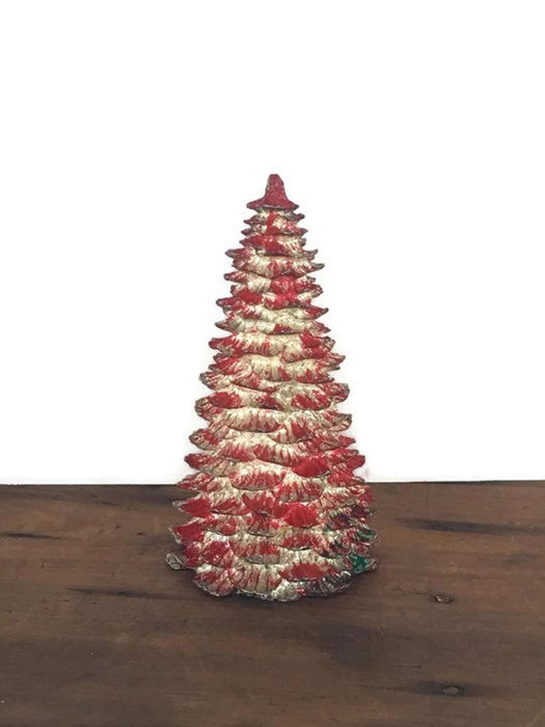 Vintage Metal Christmas Tree Red And Silver Holiday Etsy