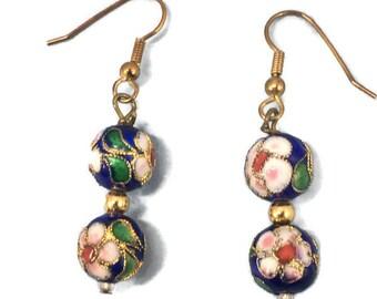 Vintage Gold Tone Blue Flower Cloisonne Dangle Drop Earrings Cloisonne Beads Retro Blue Green Gold White