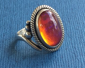 Dragons Breath Ring, Sterling Silver, Vintage 1970's , Native American, JP, Signed, SZ 6,