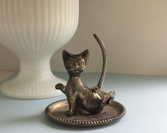 Cat Ring Holder, Silver Plated, Trinket Dish, Vintage Ring Dish