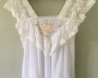 Vintage Summer Night Gown, Long Sheer Cotton Lace, Bert Yelin for Iris, SZ ML