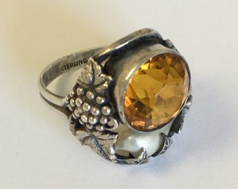 Arts & Crafts Ring River Pearl, Sterling Silver, Grapes Vine, Leaf Ring, Citrine Glass Stone, Antique Art Nouveau Ring