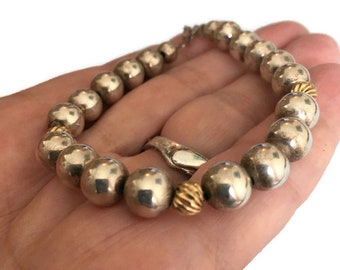 Vintage Sterling Silver and 14K Gold Ball Bead Bracelet Artisan Hand Crafted