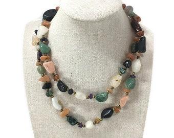 Vintage 1960's  Carnelian, Jade, Agate Multi-Stone Gem Stone, Beggar Bead Necklace, Semi Precious Polished Gemstone Bead Necklace Natural