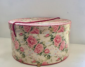 Vintage Hat Box Pink and White Roses Shabby Cottage Chic Decor and Storage, Large Hat Box