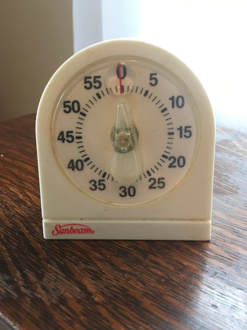 Vintage Kitchen Timer Sunbeam MInute Timer Aluminum Retro image 0
