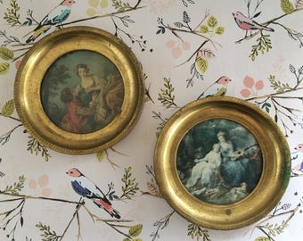 Vintage Italian Florentine Gold Gilt Frames, Made in Italy, Wall Hangings, Pair of Frames, Romantic Era Figures Art