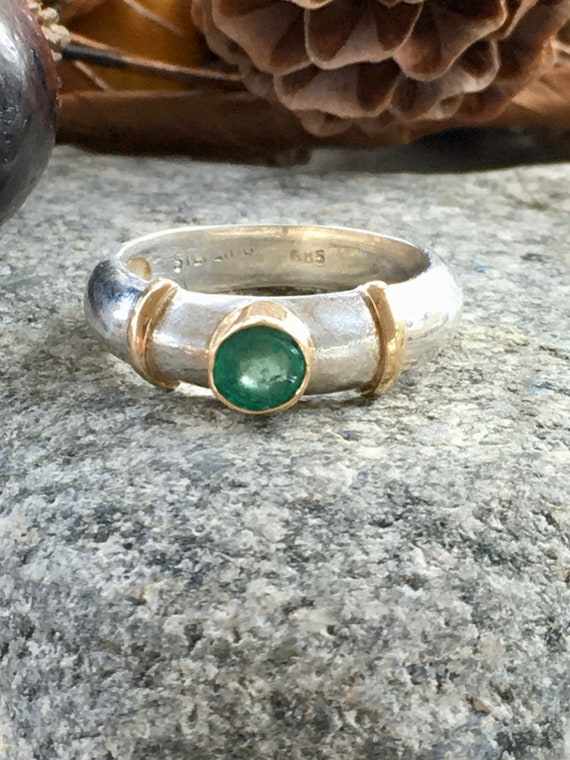 Handcrafted Vintage Sterling Silver and 14 Kt Gold