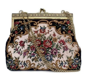 Vintage Tapestry Purse Floral on black Boho Chic