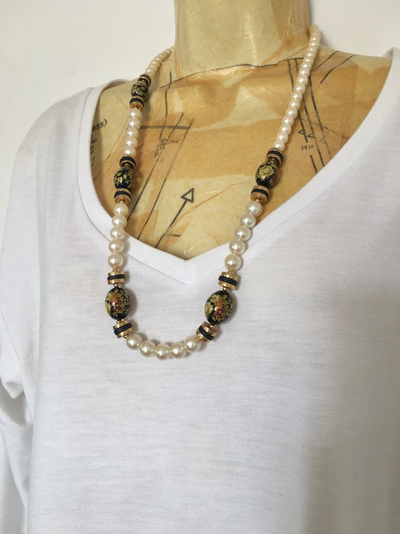 SALE  Cherry Necklace with Black and White Checkered Beads Unique and Happy Black white and Red
