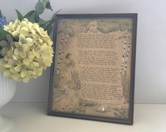"Vintage Framed Poetry ""If For Girls"" Art Print, Girls Wall Decor"