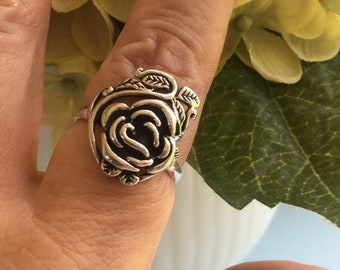 Sterling Silver Flower Ring, Rose with Leaves Scroll Design, Statement Ring, Thumb Ring