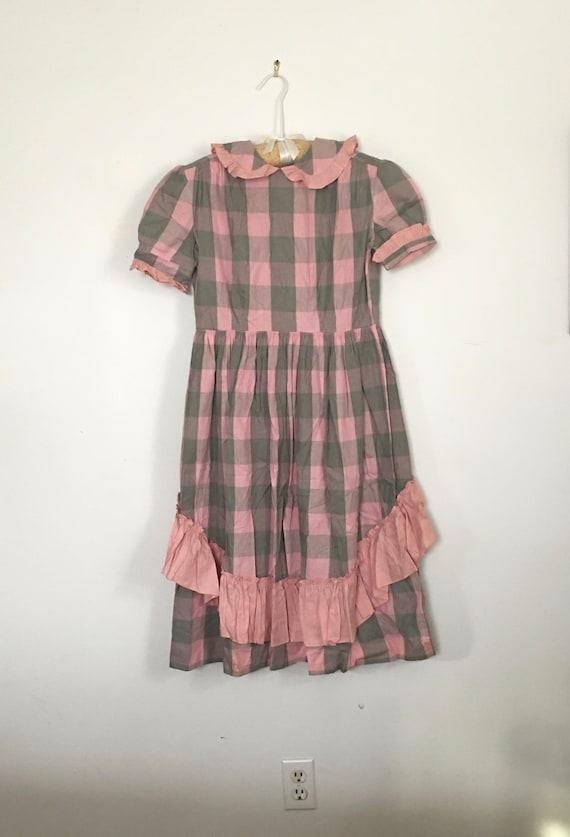 50's Ruffle Dress, Pink Gray Gingham, Plaid Checks