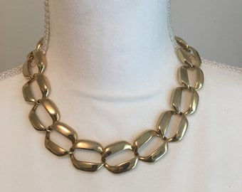 Vintage Gold Tone Chunky Chain Link Choker Necklace Retro 1980s