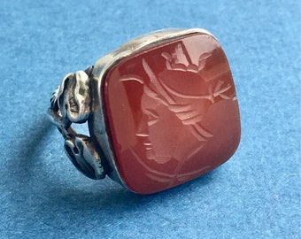 Art Nouveau Ring Intaglio Roman Soldier Carnelian Sterling Silver Setting Antique  SZ 6 Antique Pinkie Ring Unisex