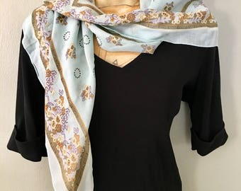 Large Challis Scarf, Large Blue Floral Scarf, Vintage Woman's Scarves Accessories, Boho Wrap Scarf
