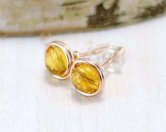 Rose Gold Citrine Earrings, 14k Rose Gold Filled Citrine Stud Earrings Wire Wrapped November Birthstone Yellow Gemstone