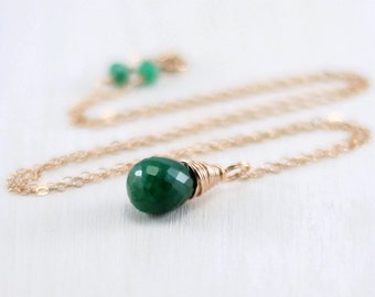 Genuine Emerald Necklace, 14k Rose Gold Filled Green Emerald Pendant Pink Gold May Birthstone Jewelry Wire Wrapped