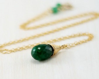 Gold Emerald Necklace, 14k Gold Filled Green Genuine Emerald Pendant Yellow Gold May Birthstone Wire Wrapped