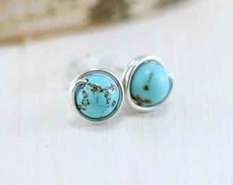Turquoise Earrings, Sterling Silver Genuine Turquoise Stud Earrings Wire Wrapped Post Earrings December Birthstone Jewelry