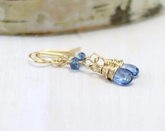 Kyanite Earrings, 14k Gold Filled Cornflower Blue Gemstone Earrings Wire Wrapped Yellow Gold Kyanite Dangle Earrings