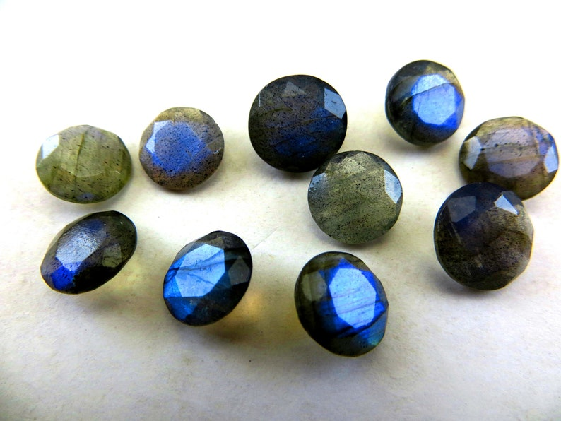 Labradorite  Faceted cut  Gorgeous  Full Flashy  Amazing Fire  Good Quality  10 piece lot  Shape Round  Size 10x10 to 11x11  mm