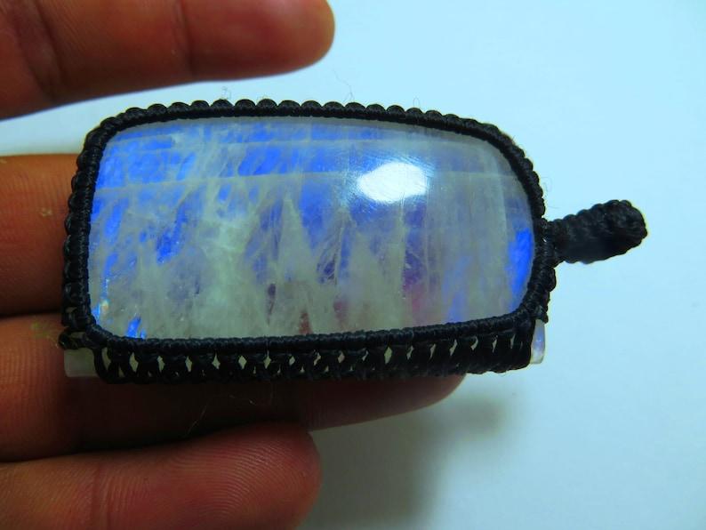 Rainbow Moonstone Macrame pendant Full Flashy Amazing Malty Fire Good Quality Rectangle Shape Size 30x52 mm