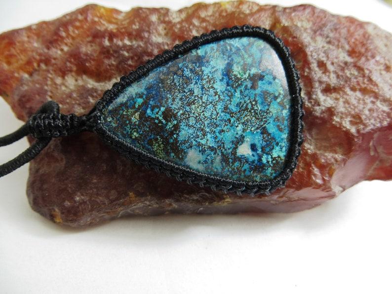 Azurite Natural Gemstone Gemstone Jewellry Pendent Shape Pear Size 38x48 mm Azorite  Pendant Handmade Macrame Azurite Macrame Pendant