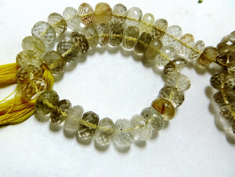 Golden  Rutilated Quartz 10 Inches 130 Crate Old Looking Natural Color Smooth Polish Top Quality Size 8x8 mm To 9x8 mm AAC 053