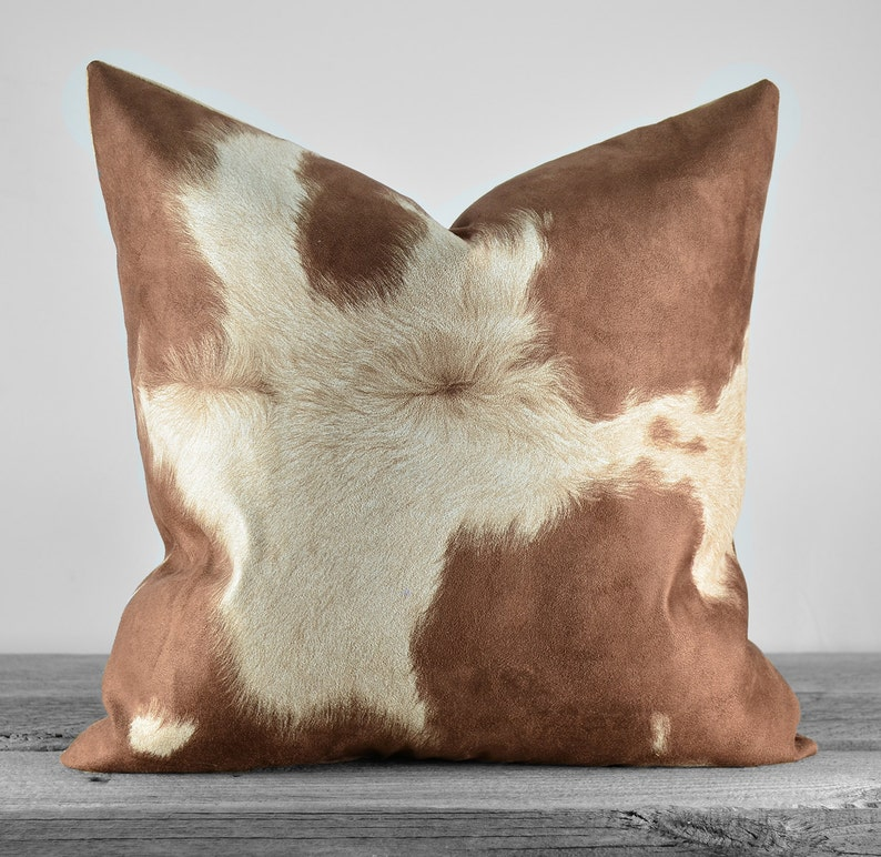 Pillow Cover  Faux Cowhide Brown Cow Suede Fabric  SAME image 0