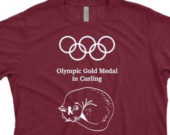 Olympic Shirt, Curling Shirt, Cat Shirt for Him, Sports Shirt for Him, Olympics tshirt