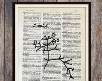 Biology Art Print, Charles Darwin Tree of Life Print, Science Art Dictionary Print, Atheist Gift
