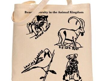 Beard Bag, Funny Beard Tote Bag, Animal Beard Gift for Him