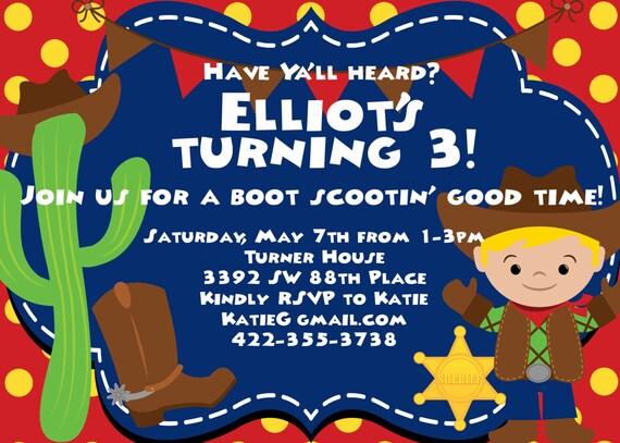 Cowboy Theme Party Birthday Invitation Etsy