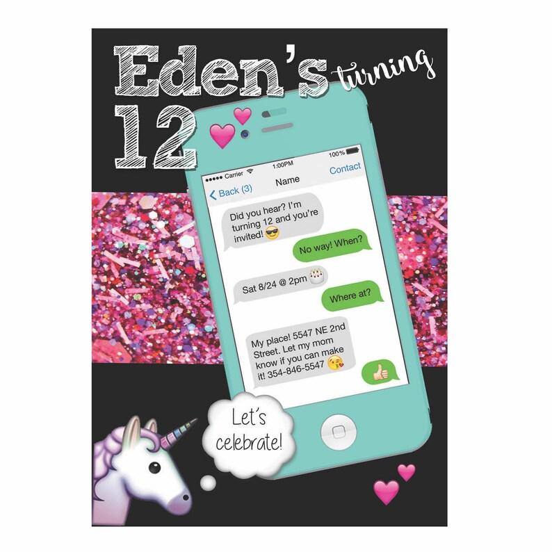 Texte Message Iphone Licorne Emoji Anniversaire Invitation