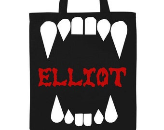 Personalized Halloween Trick or Treat Bag- Fangs