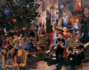 Commedia dell'Arte, party, Giclée print