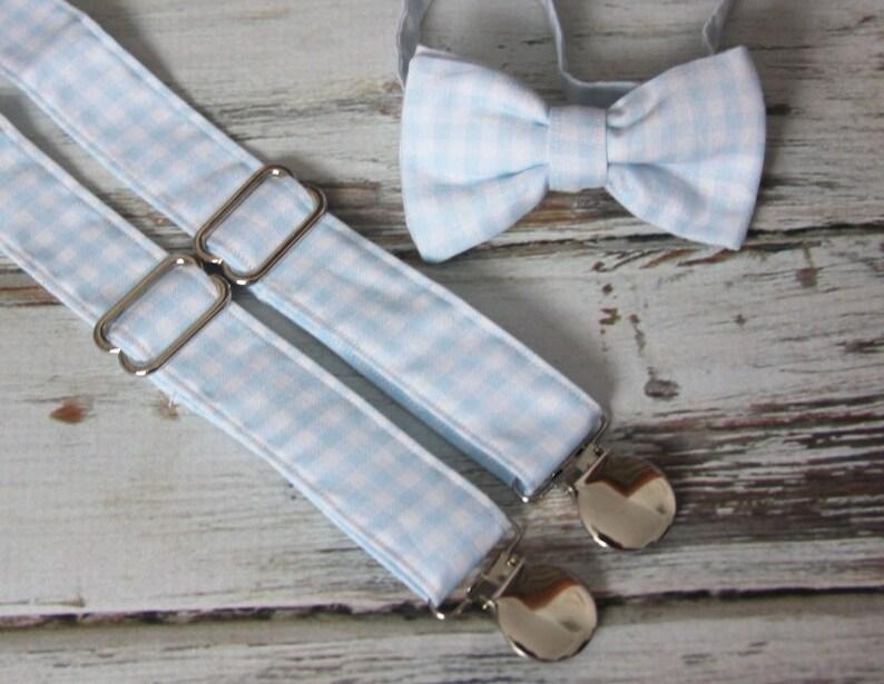 8367e383eff9 Light Blue Gingham Bow Tie and Suspender set Men boys   Etsy