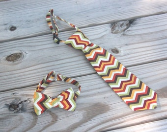 Fall Chevron- Cream, Brown, Green, Orange, Red, Yellow Neck Tie or Bow Tie (BowTie) for Baby, Infants, Toddlers, Youth, Boys, Men outfit